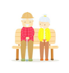Older couple sitting on bench happy old man vector