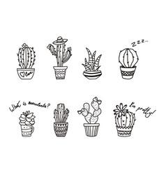outline cactus in pot contour succulents vector image