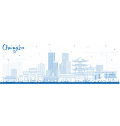 Outline changsha china city skyline with blue vector