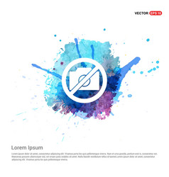 Photo not allowed icon - watercolor background vector