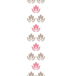 Pink and brown tulips stripes vertical seamless vector image