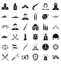 Police weapon icons set simple style vector