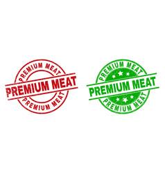 Premium meat round badges using unclean texture vector