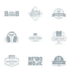 Retro music logo set simple style vector