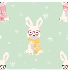 Seamless Merry Christmas patterns with cute rabbit vector