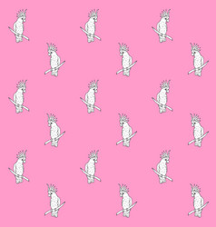 seamless pattern black hand drawn cockatoo vector image