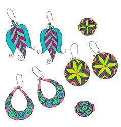 Set different female earrings vector