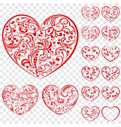 Set of red hearts made of curls vector image