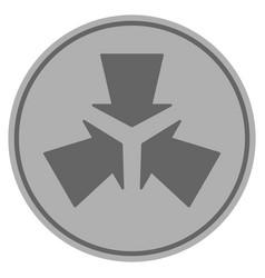 Shrink arrows silver coin vector