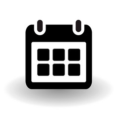 simple flat calendar page organizer icon black vector image