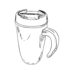 Sketch of thermo cup with handle vector