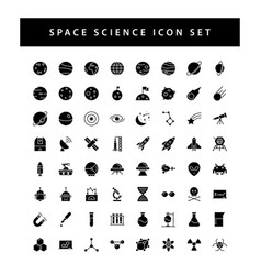 Space and science icon set with black color glyph vector