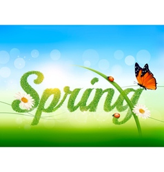 Spring background with grass sky and a butterfly vector image