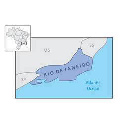 state of rio de janeiro map vector image
