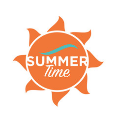 Summer time logo design text written on cartoon vector