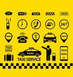 taxi icons transport set with car and passenger vector image
