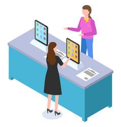 Tech store buyer woman choosing electronic device vector