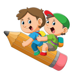 two student boys are flying with big vector image