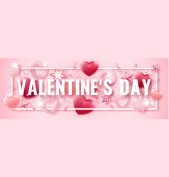 valentines day horizontal banner with shining pink vector image