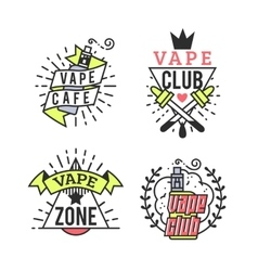 Vaping Badges Modern Line Art Labels Vape vector