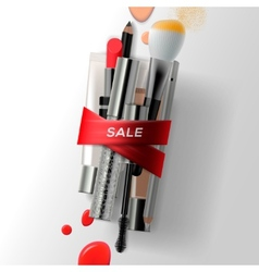 Various makeup brushes and cosmetics with red vector image
