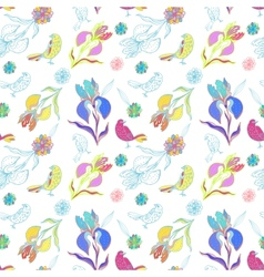 Vintage floral seamless pattern iris and birds vector image