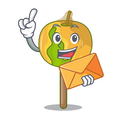 with envelope candy apple character cartoon vector image