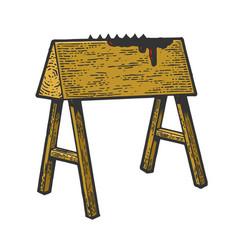 Wooden horse torture device sketch vector