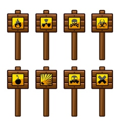 Wooden warning signs vector image