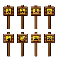 Wooden warning signs vector
