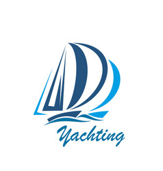 yachting sport club or yacht travel icon vector image
