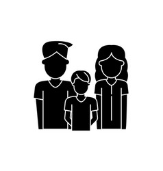 young family black icon sign on isolated vector image