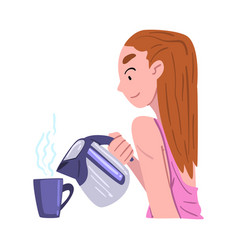 young woman having breakfast at kitchen girl vector image
