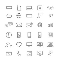 30 line social icons vector image vector image
