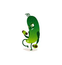funny cucumber character doing sport training vector image vector image