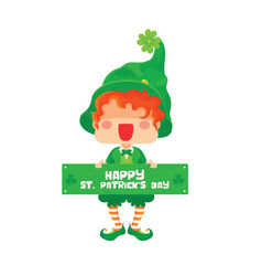 Happy saint patrick day leprechaun greeting sign vector