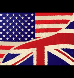 usa British grunge flag vector image vector image