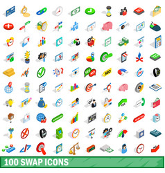 100 swap icons set isometric 3d style vector image vector image