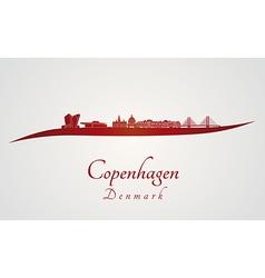 Copenhagen skyline in red vector