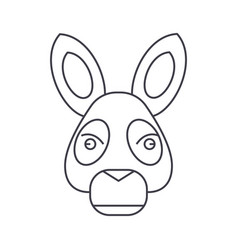 donkey head line icon sign vector image vector image