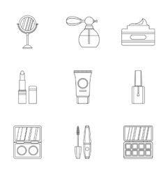 Face care icons set outline style vector