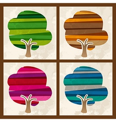 Four season multicolor tree set vector image vector image
