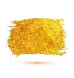 Golden glitter brush stroke isolated on white vector