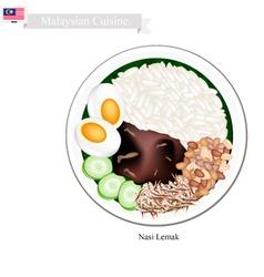 Nasi lemak or malaysian coconut milk rice vector