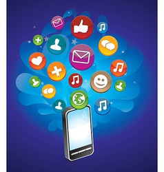 Phone with bright social media icons - vector