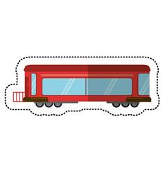 red train rail passenger transport shadow vector image vector image