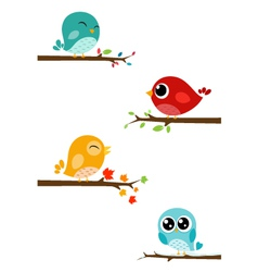 Birds sitting on branches vector image