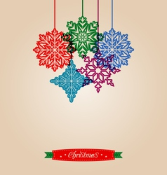 Christmas vintage card with snowflakes vector image vector image