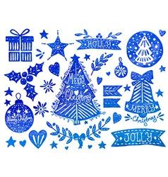Christmas watercolor set vector image