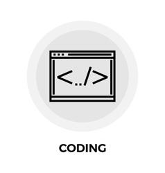 Coding line icon vector
